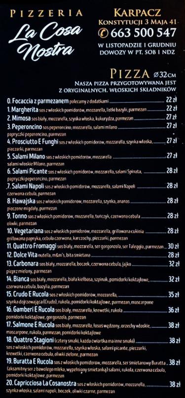 Menu Pizza Karpacz - La cosa Nostra strona 1
